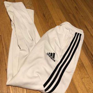 white adidas joggers